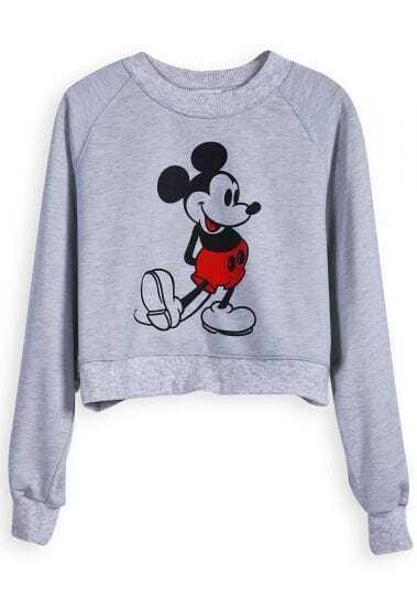 Grey Long Sleeve Mickey Print Crop T-Shirt