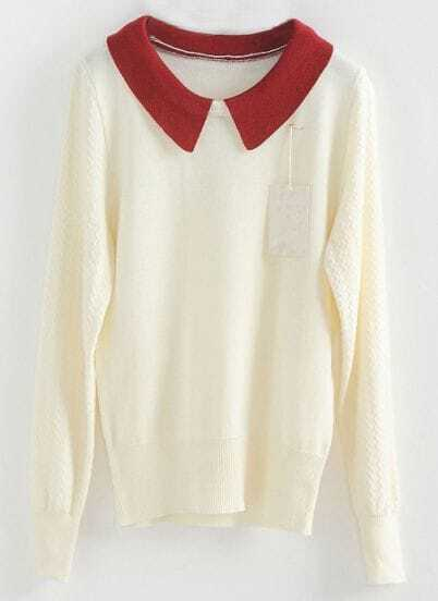 White Contrast Lapel Long Sleeve Zigzag Sweater