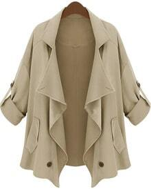 Khaki Lapel Half Sleeve Asymmetrical Pockets Outerwear