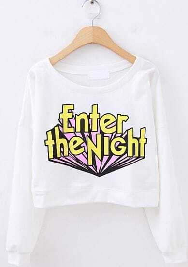 White Long Sleeve Enter the NiGht Print Crop Sweatshirt