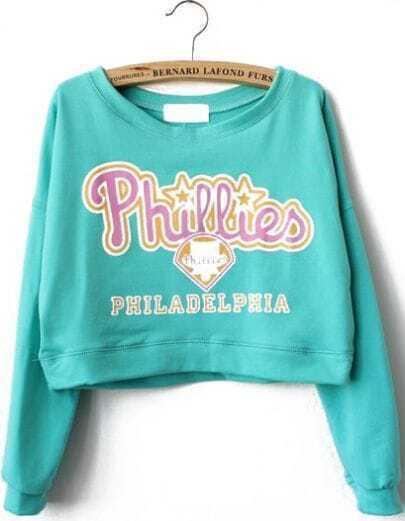 Green Long Sleeve Phillies Print Crop Sweatshirt