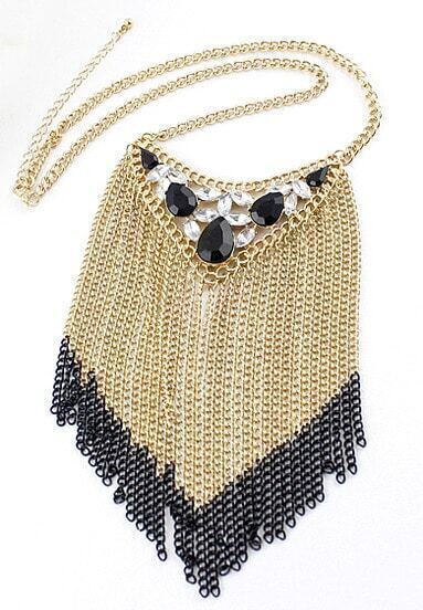 Black Gemstone Gold Red Chain Tassel Necklace