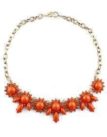 Orange Gemstone Gold Flower Chain Necklace