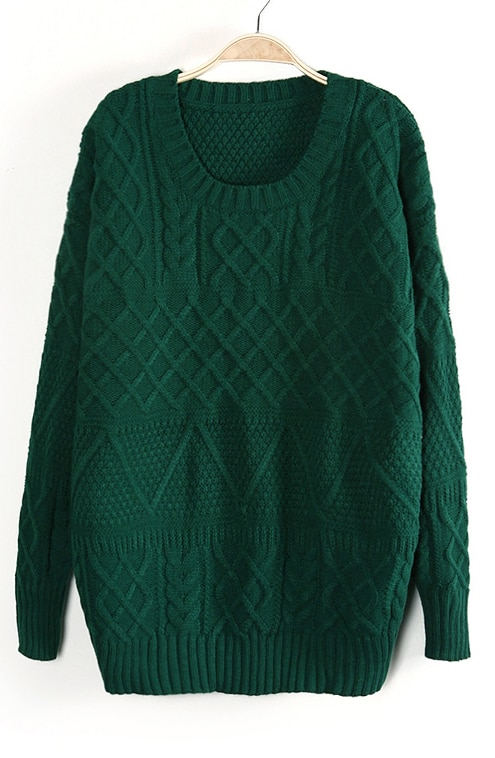 Green Long Sleeve Cable Knit Pullover Sweater -SheIn(Sheinside)