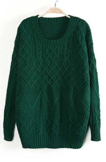 Green Long Sleeve Cable Knit Pullover Sweater