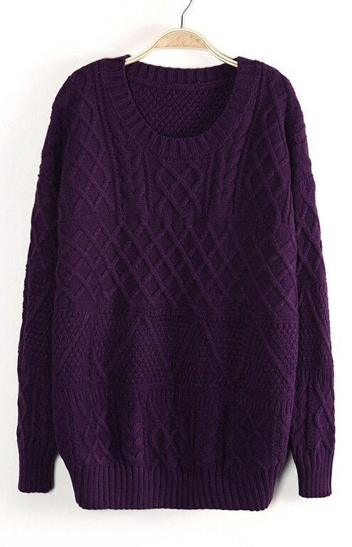 Dark Purple Long Sleeve Cable Knit Pullover Sweater -SheIn(Sheinside)