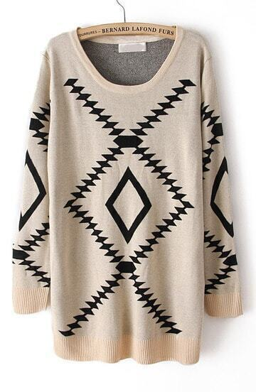 Beige Long Sleeve Geometric Pattern Pullover Sweater