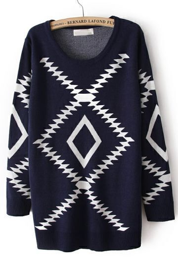 Navy Long Sleeve Geometric Pattern Pullover Sweater