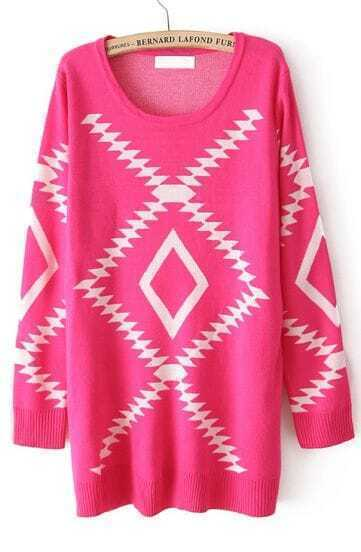 Rose Red Long Sleeve Geometric Pattern Pullover Sweater