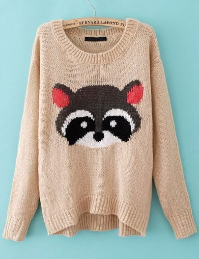 Apricot Long Sleeve Bear Pattern Pullover Sweater