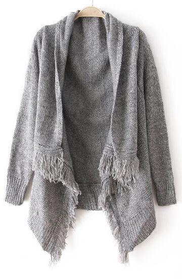 Grey Long Sleeve Tassel Loose Cardigan Sweater