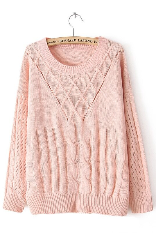 Pink Long Sleeve Split Cable Knit Sweater -SheIn(Sheinside)