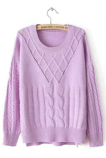 Purple Long Sleeve Split Cable Knit Sweater