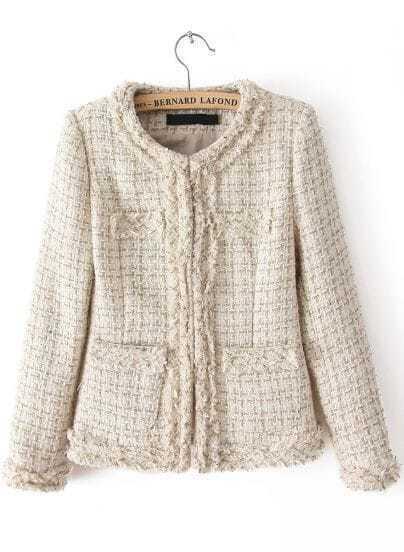 Beige Long Sleeve Fringe Tweed Crop Outerwear