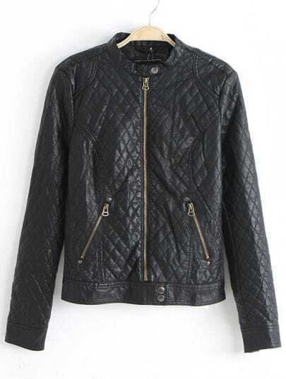 Black Stand Collar Diamond Patterned PU Leather Jacket