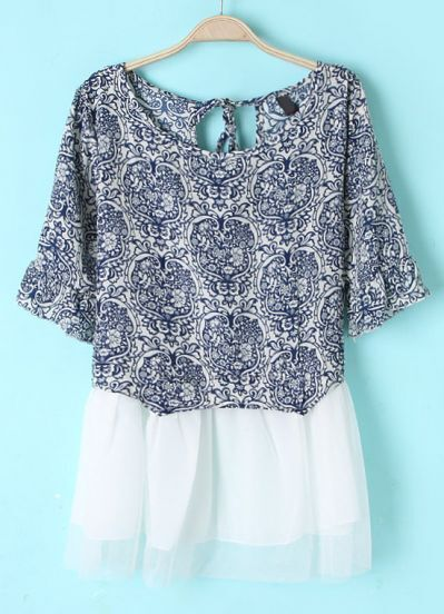 Navy White Batwing Short Sleeve Floral Dress