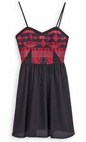 Black Spaghetti Strap Tribal Geometric Pattern Embroidery Dress