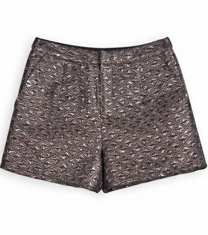 Metallic Copper Geometric Straight Shorts