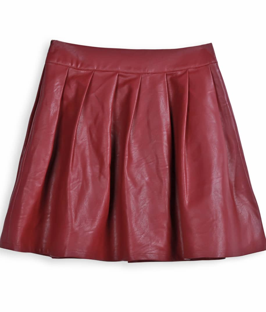 Wine Red PU Leather Pleated Mini Skirt -SheIn(Sheinside)