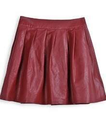 Wine Red PU Leather Pleated Mini Skirt