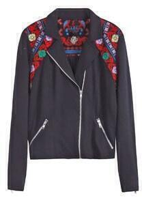 Black Floral Embroidery Shoulder Zipper Embellishment Jacket