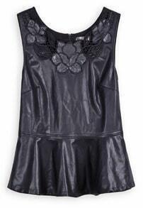 Black PU Leather Hollow Flower Embroidery Peplum Vest