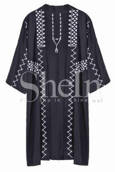 Black Contrast White Embroidery Geometric Coat