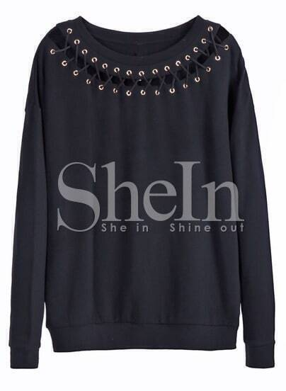 Black Long Sleeve Eyelet Lace Up Neckline Sweatshirt