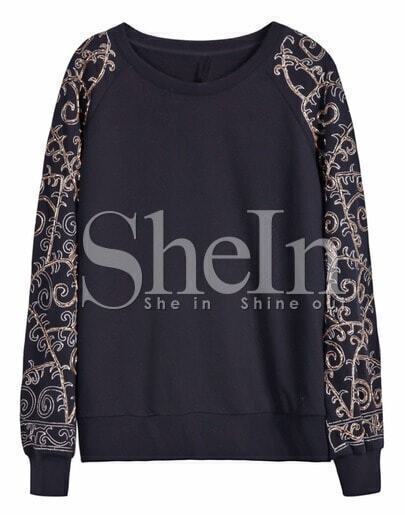 Black Beading Embellished Raglan Sleeve Sweatshirt