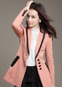 Pink Long Sleeve Contrast Trims Slim Blazer