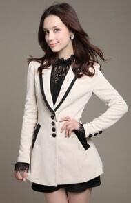 White Long Sleeve Contrast Trims Slim Blazer