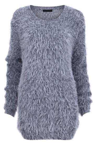 Grey Long Sleeve Shaggy Pullover Sweater