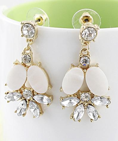 White Gemstone Gold Flower Stud Earrings