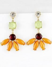 Orange Green Gemstone Gold Bead Earrings