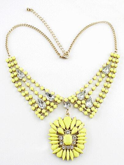Yellow Gemstone Gold Crystal Collar Necklace