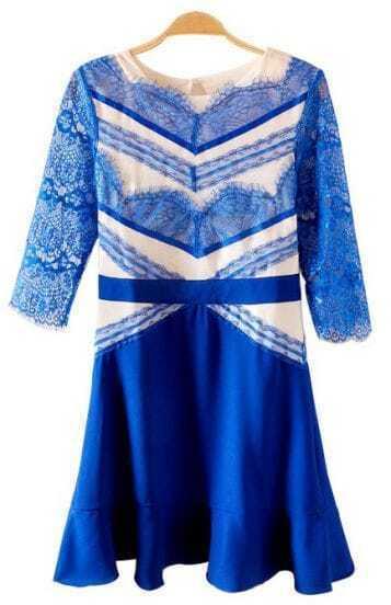 Blue Half Sleeve Backless Lace Ruffle Dress