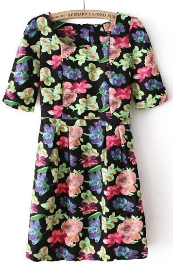 Black Short Sleeve Backless Floral Dress