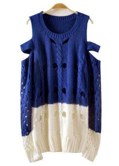 Blue Beige Off the Shoulder Hollow Sweater