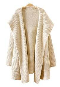 Apricot Hooded Long Sleeve Pockets Cardigan Sweater
