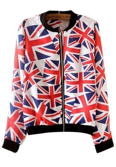 White Long Sleeve Union Jack Print Jacket