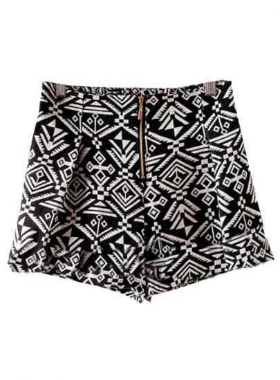 Black High Waist Geometric Print Shorts