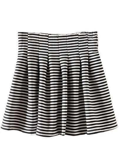 Black White Striped Pleated Flare Skirt