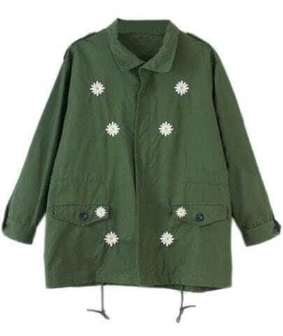 Army Green Long Sleeve Daisy Embroidery Jacket