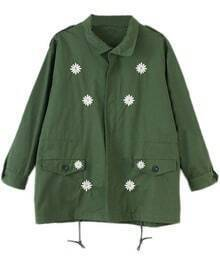 Army Green Long Sleeve Daisy Embroidery Jacket
