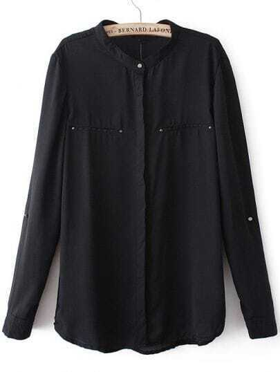 Black V Neck Long Sleeve Loose Chiffon Blouse