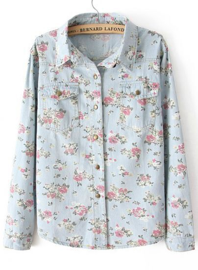 Light Blue Lapel Long Sleeve Floral Denim Blouse
