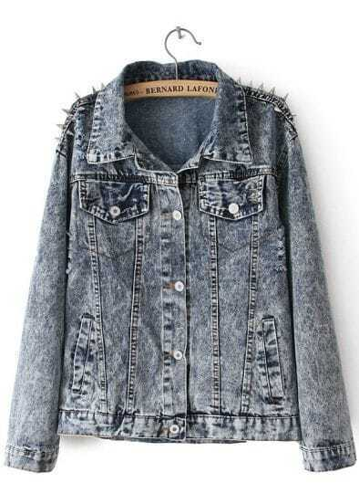 Blue Lapel Long Sleeve Rivet Punk Denim Outerwear