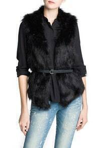 Black Sleeveless Belt Fur Waistcoat