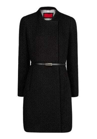 Black Stand Collar Long Sleeve Belt Outerwear