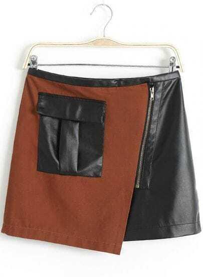 Khaki Black Zipper Pockets Leather Skirt